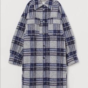 New H&M wool plaid jacket shacket XS